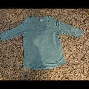 SUNDAY Blue 3/4 Sleeve Shirt V Neck XL